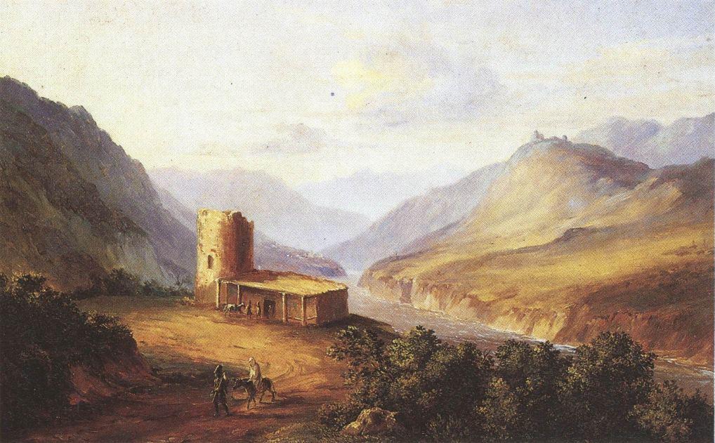 Так выглядел монастырь Джвари в 1837 году. Картина М. Ю. Лермонтова