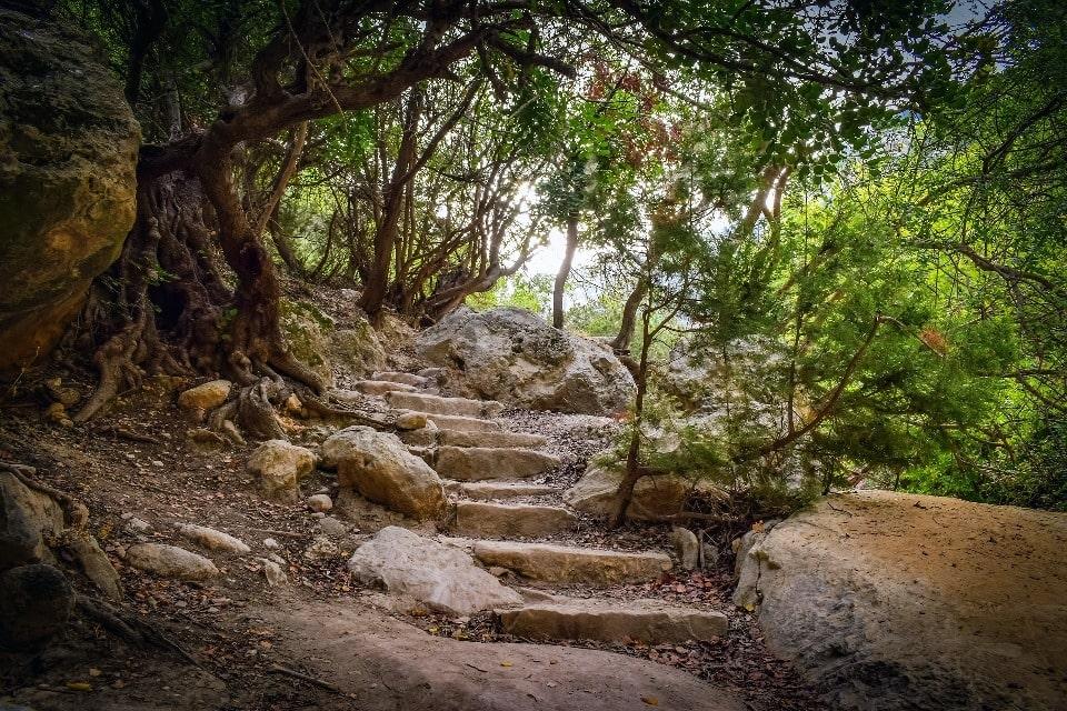 В ущелье имеется рукотворная каменная лестница
