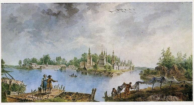Нилова пустынь на картине 1789 года