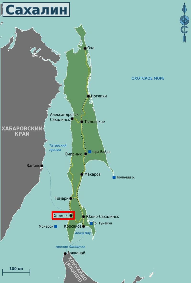 Холмск на карте Сахалина