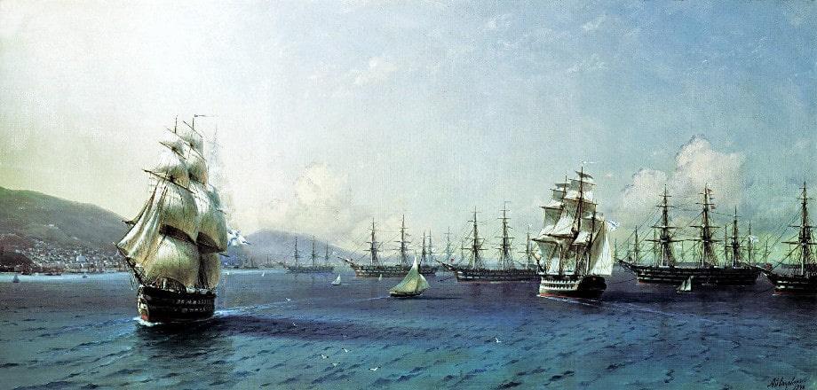 Картина И.Айвазовского «Черноморский флот в Феодосии»