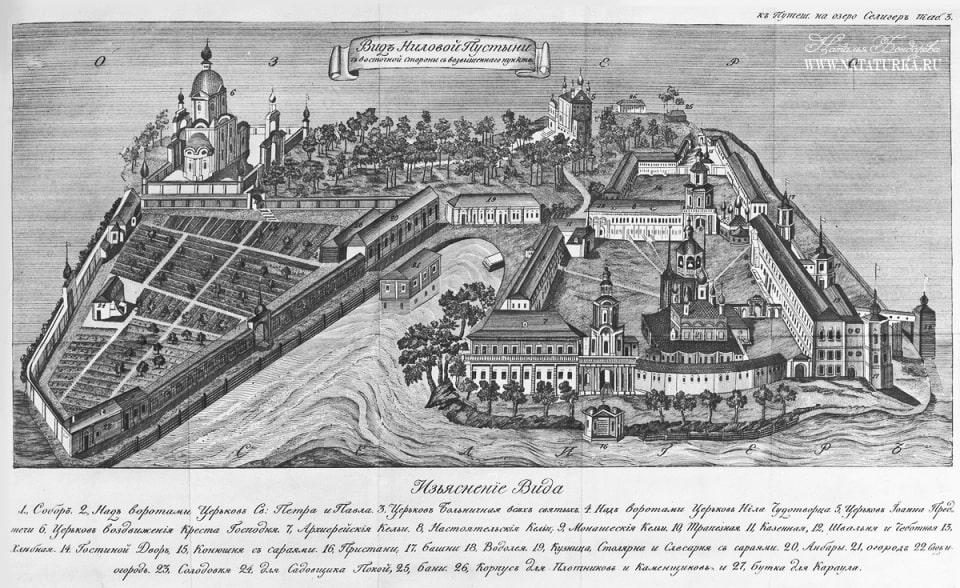 План монастыря в начале XIX века