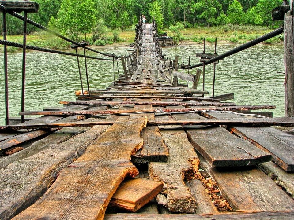 Навесной мост через реку Чулышман