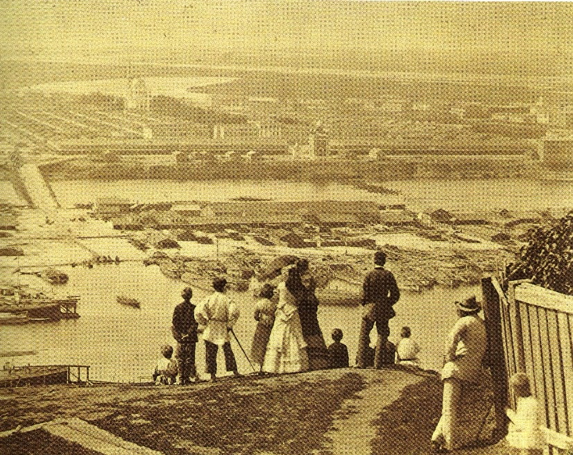 Вид на Нижегородскую ярмарку с Гребешка. 1870-е гг., А. О. Карелин