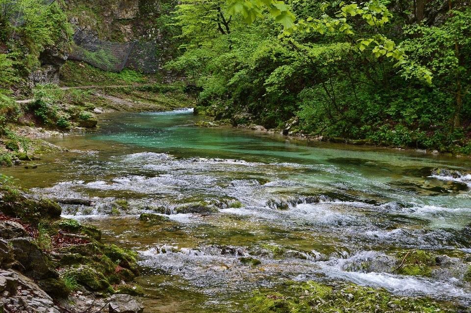 В среднем течение рельеф становится более пологим, река становится более спокойной