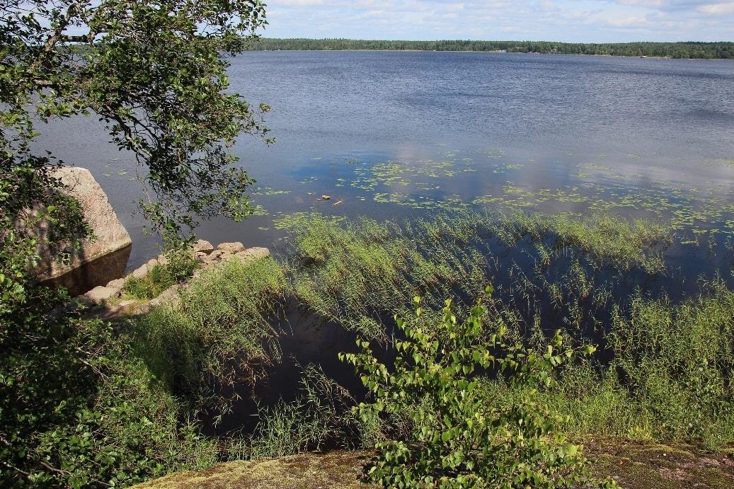 Озеро Ястребиное имеет высокие гранитные берега