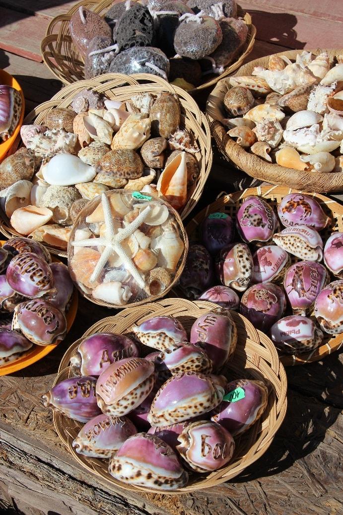 Сувенирные лавки ломятся от даров моря