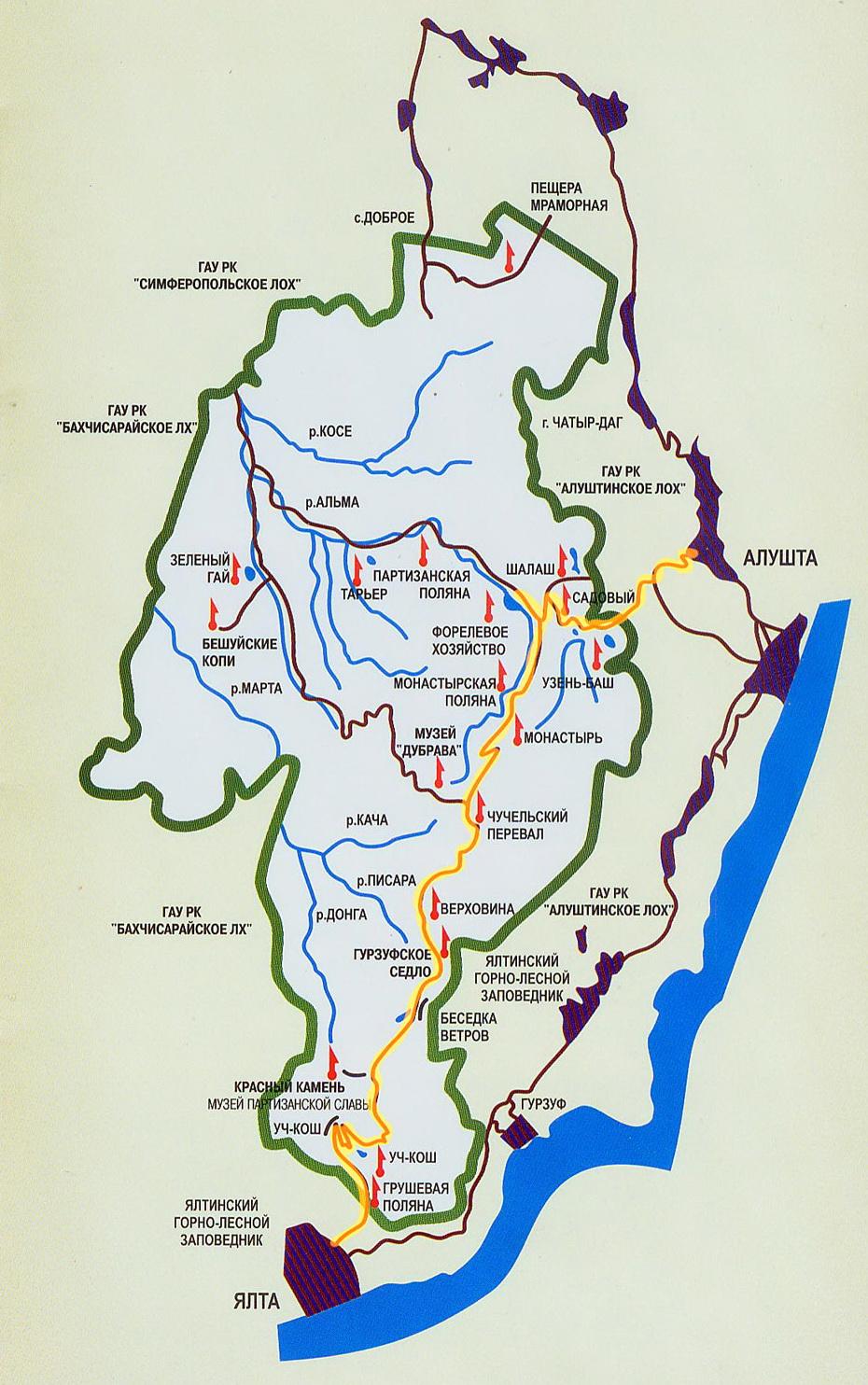 Карта-схема Крымского природного заповедника