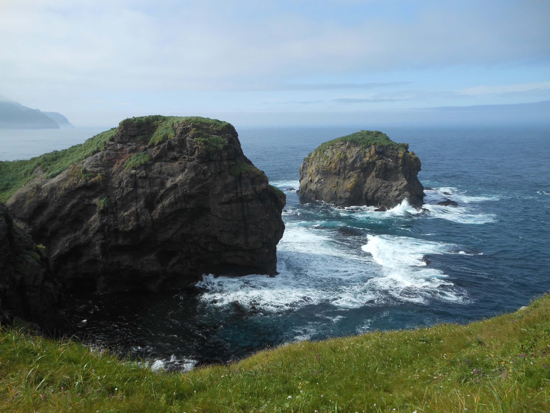 В окрестностях мыса на поверхности океана разбросано множество скал