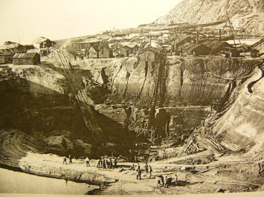 Добыча янтаря из карьера рядом с Пальмникеном, 1874 год