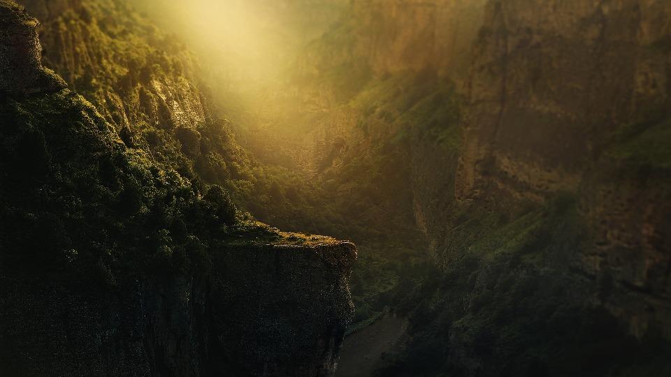 Скалы обильно покрыты мхом